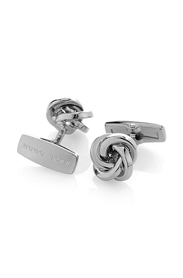 Manschettenknöpfe ´T-Yonn` aus versilbertem Messing, Silber