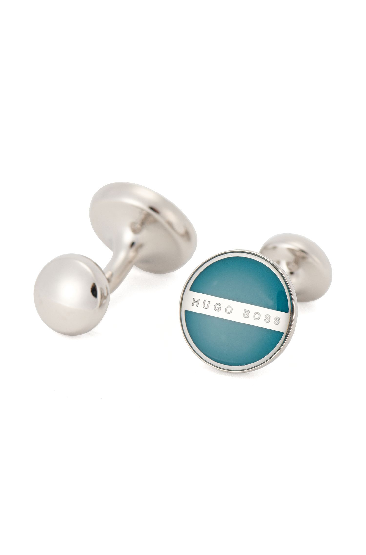 Round cufflinks with enamel core
