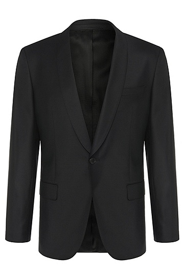 修身版新羊毛/弹性纤维混纺外套:'Hyats_cyl',  001_黑色