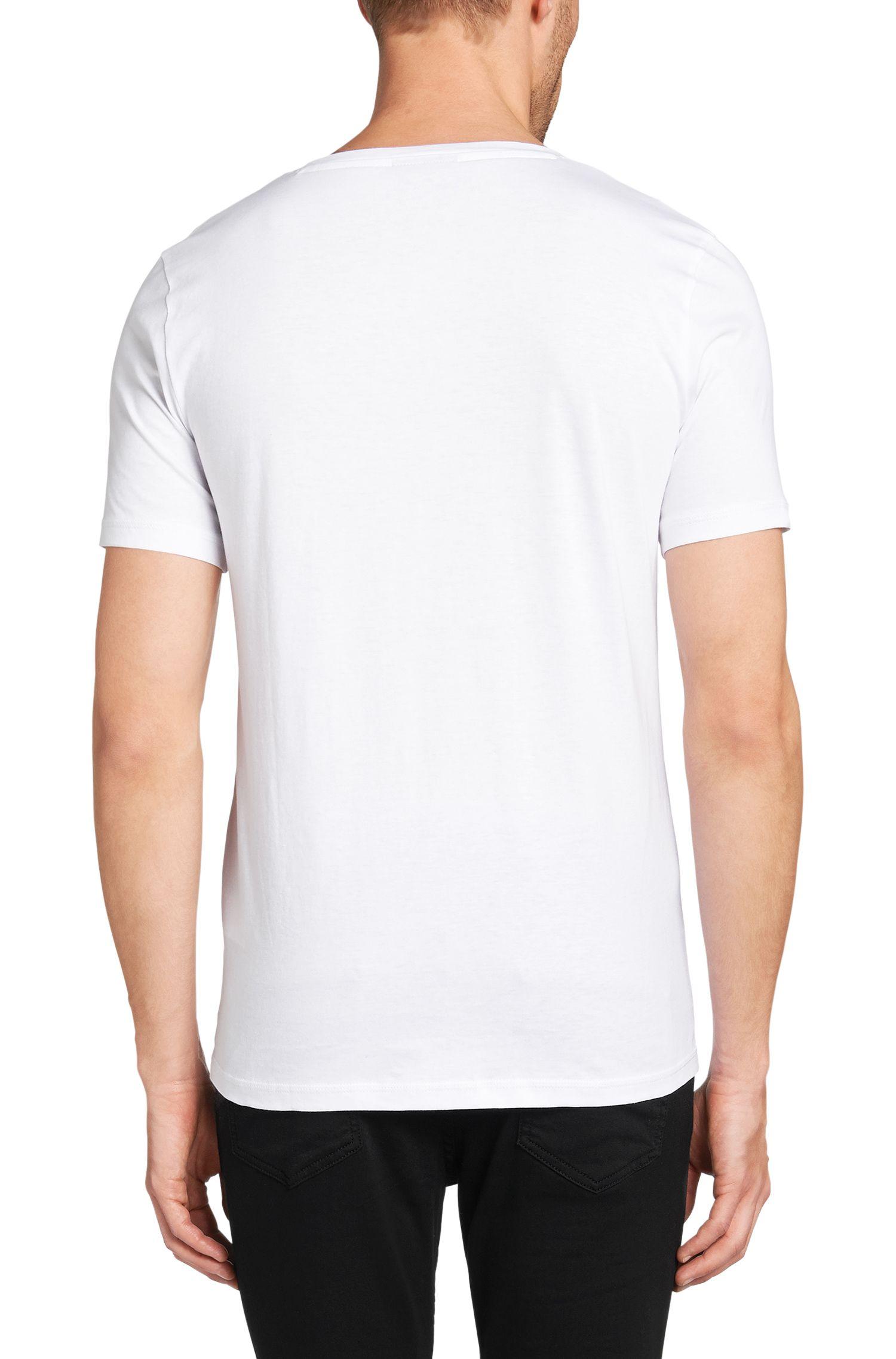 Effen slim-fit T-shirt van katoen: 'Danny'