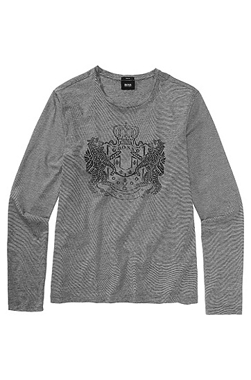 纯棉长袖T恤'Leo 37',  001_黑色