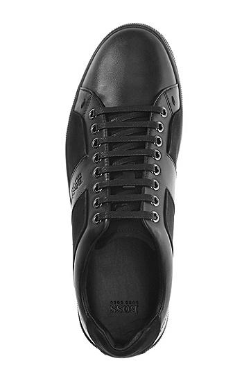 牛巴戈细节光滑皮质运动鞋 'Acrest',  001_黑色