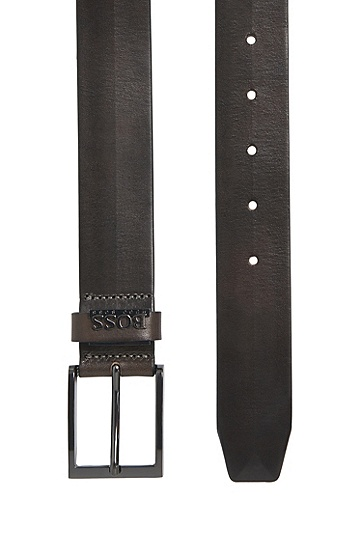 Ledergürtel in Vintage-Optik: 'Senol', Dunkelgrau