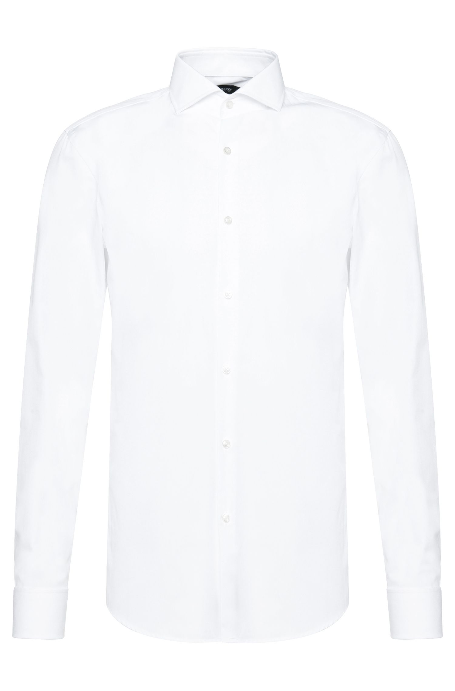 Slim-fit shirt in cotton with turn-back cuffs: 'Jaiden'
