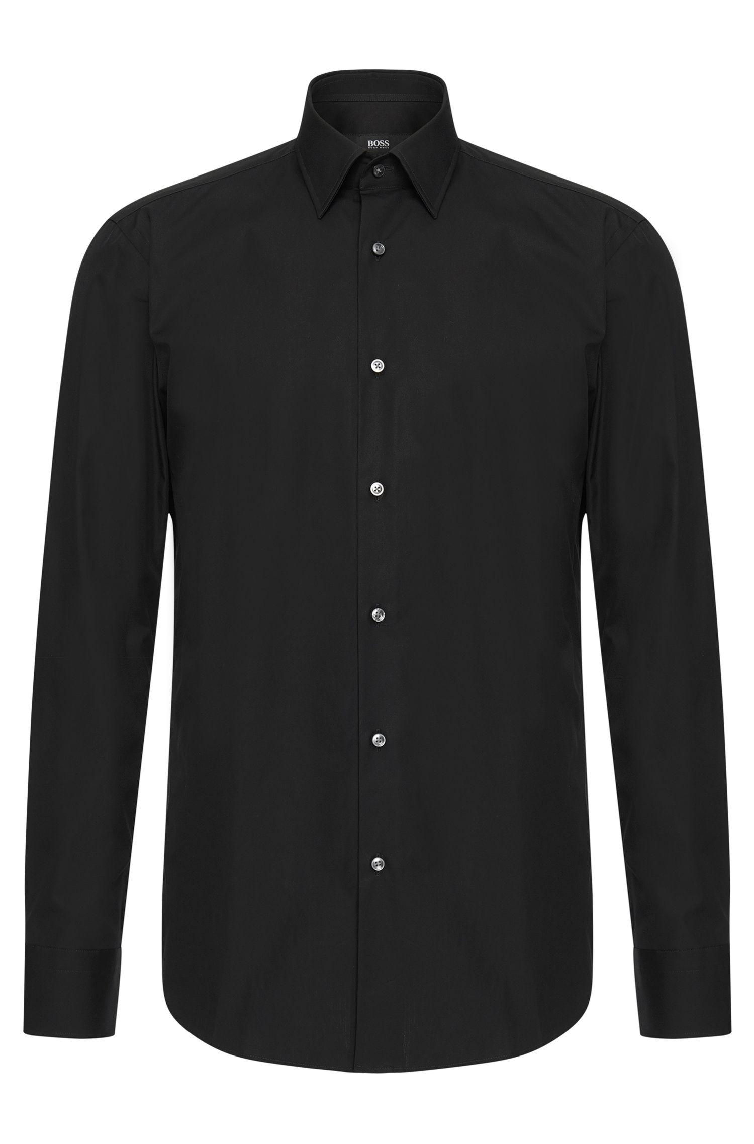 Plain regular-fit shirt in cotton: 'Enzo'