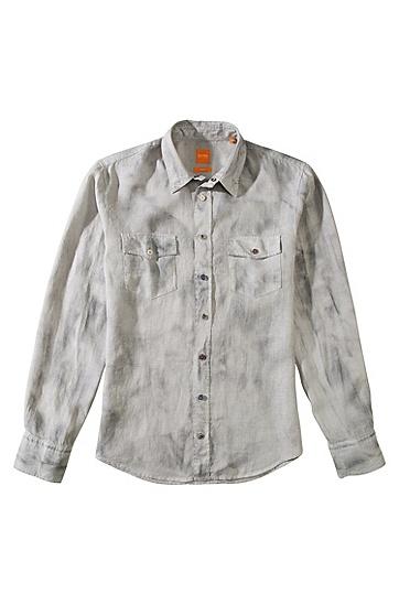 修身版亚麻休闲衬衫 'EdaslimE',  051_浅灰色