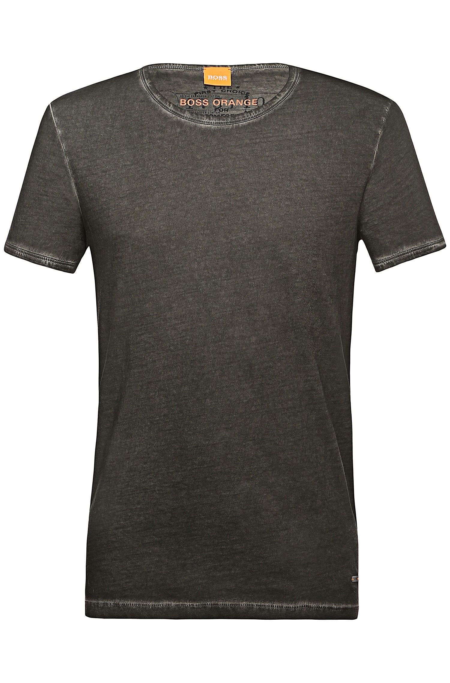 Regular-fit T-shirt van garment dyed katoen