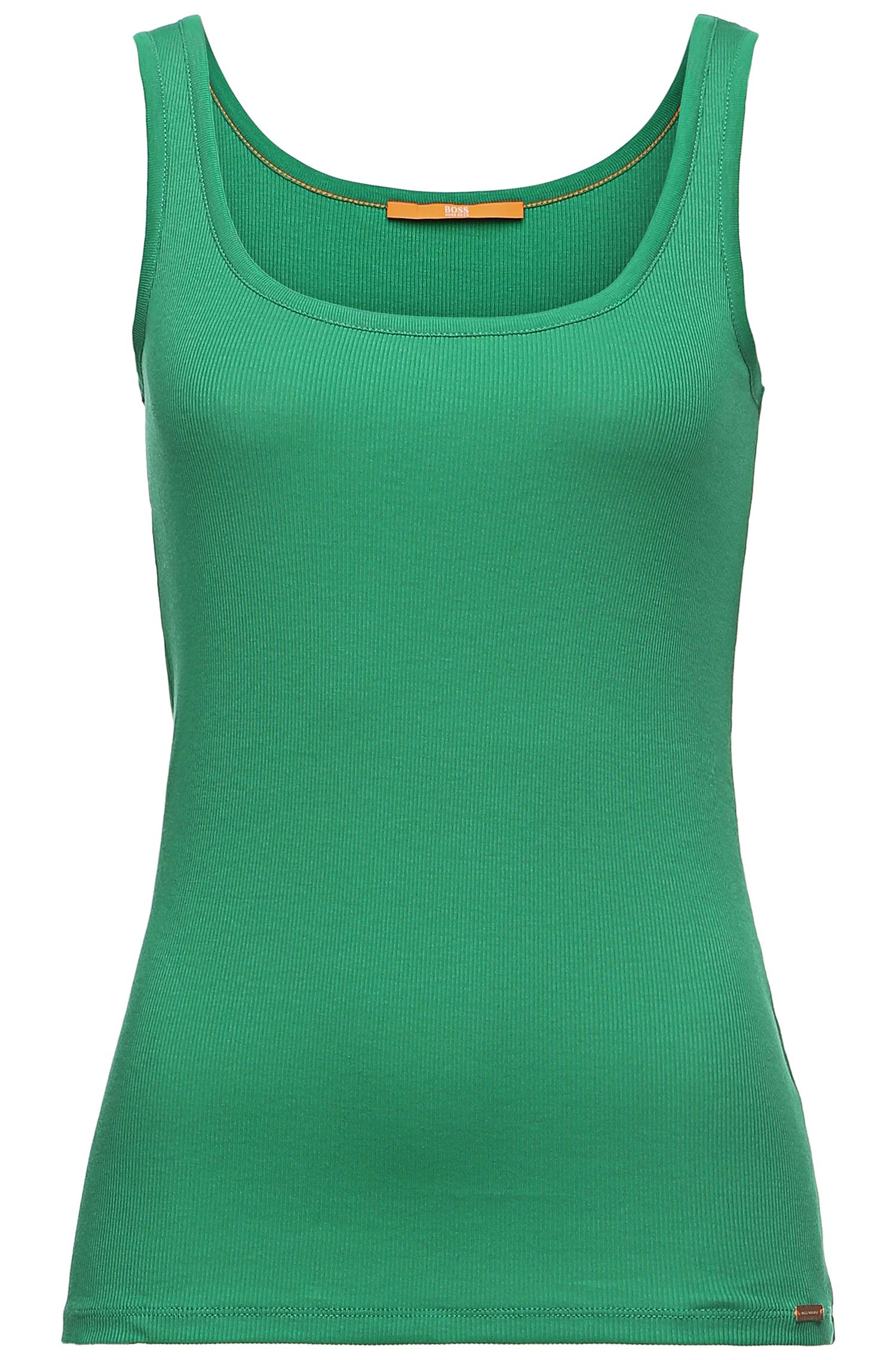 Unifarbenes Slim-Fit Tanktop aus Baumwoll-Mix: ´Thanxa`
