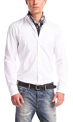 Slim fit casual shirt 'EdipoE' in cotton, White