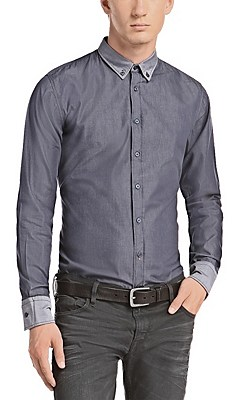 Slim fit casual shirt 'EdipoE' in cotton, Blue