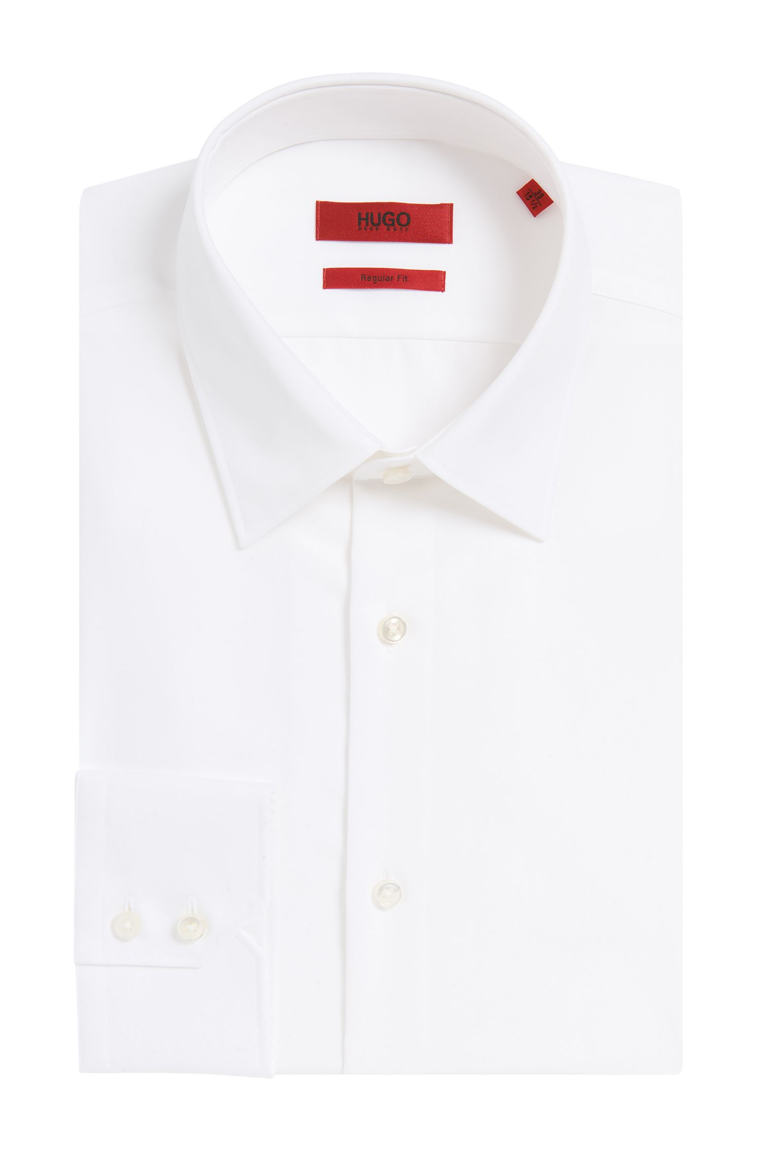 Unifarbenes Regular-Fit Hemd aus reiner Baumwolle: 'C-Enzo'