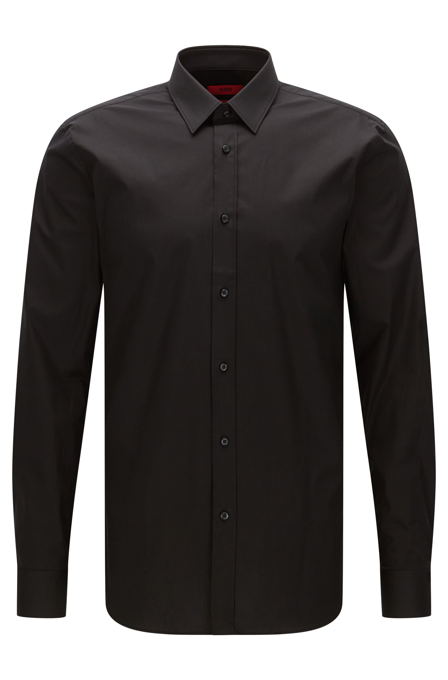 Plain slim-fit shirt in stretch cotton: 'Elisha'