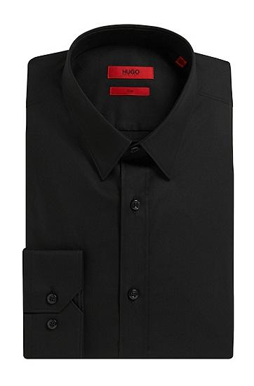修身版素色弹力棉衬衫:'Elisha',  001_Black
