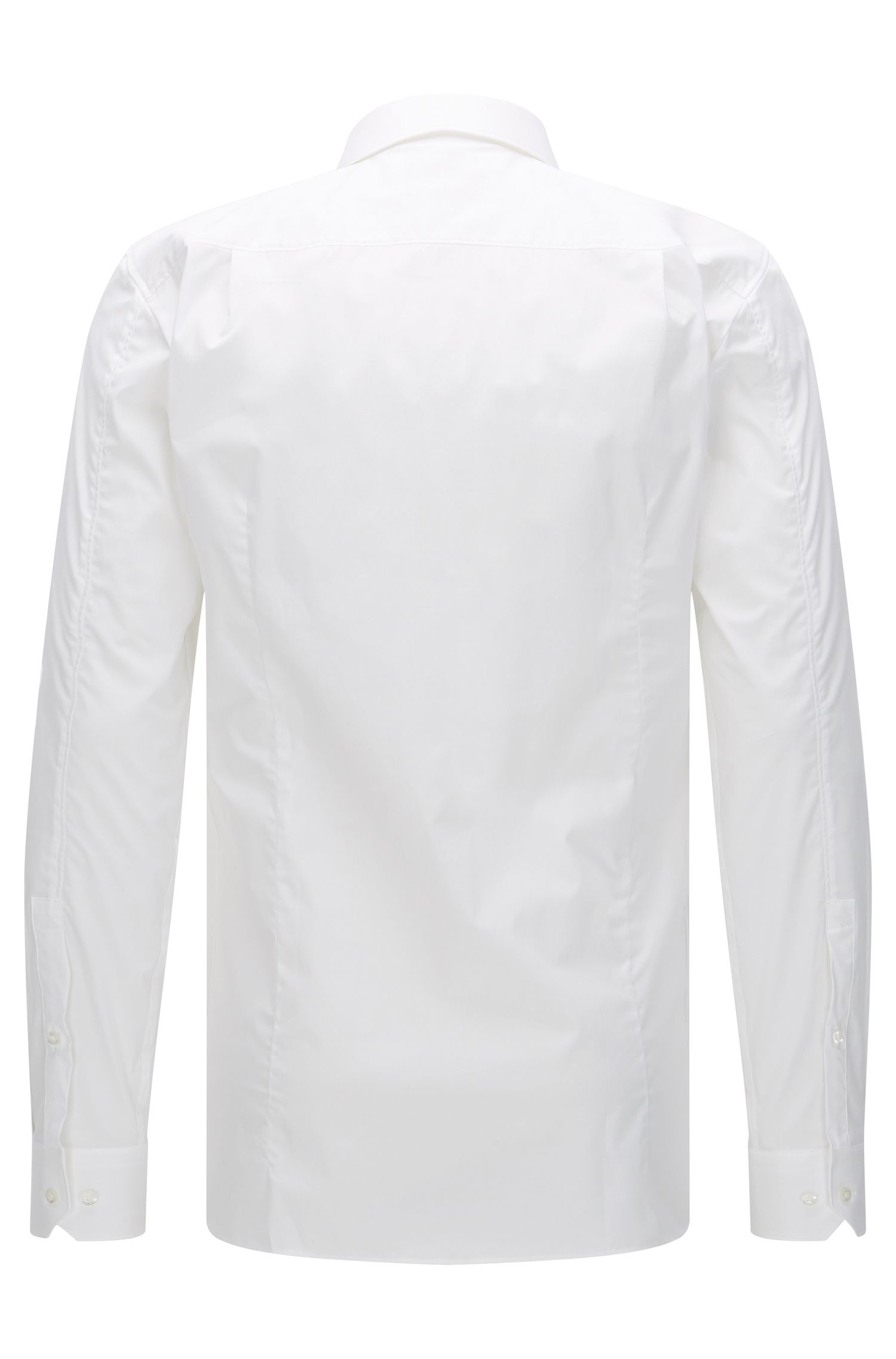 Effen, slim-fit overhemd van stretchkatoen: 'Elisha'
