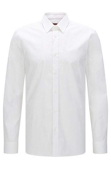 Plain slim-fit shirt in stretch cotton: 'Elisha', Open White