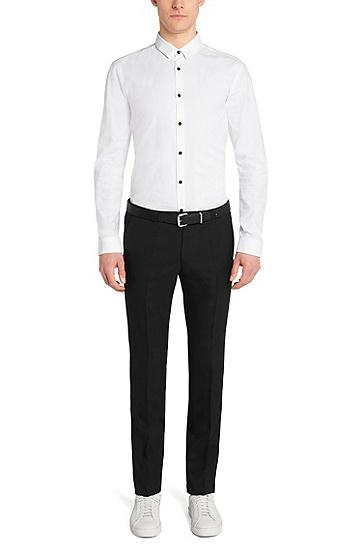Slim-Fit Hemd aus dezent strukturierter Baumwolle: 'Ero3', Weiß