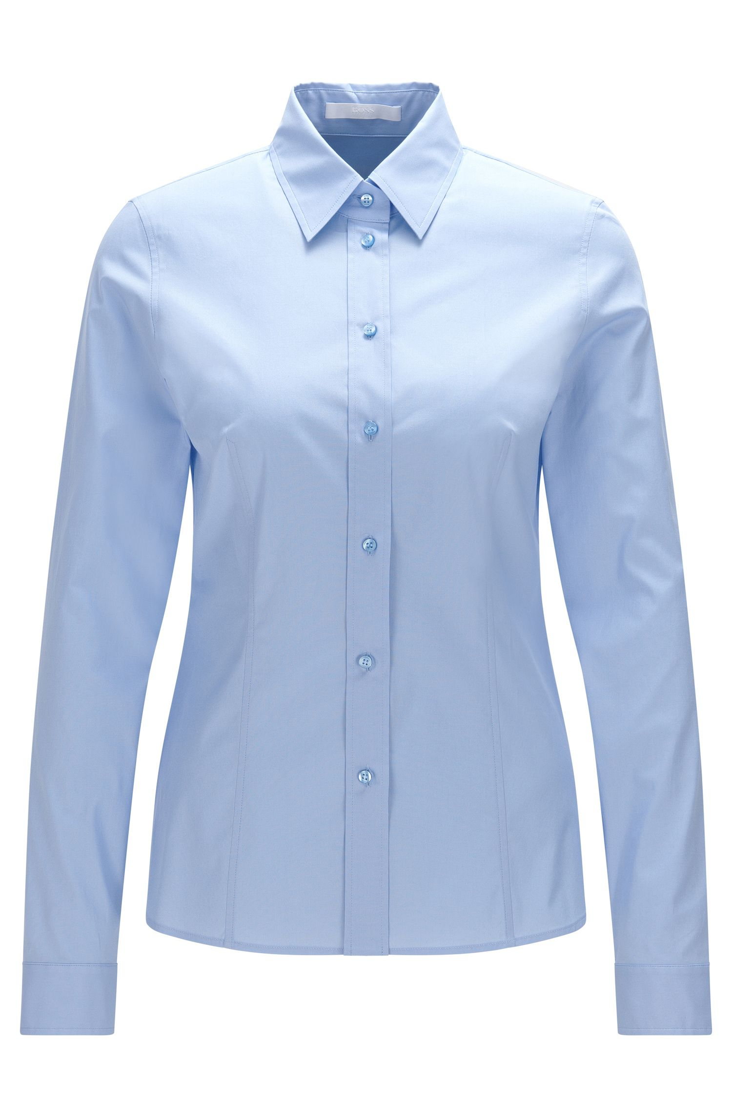 Slim-fit blouse in stretchy cotton blend: 'Banu 13'