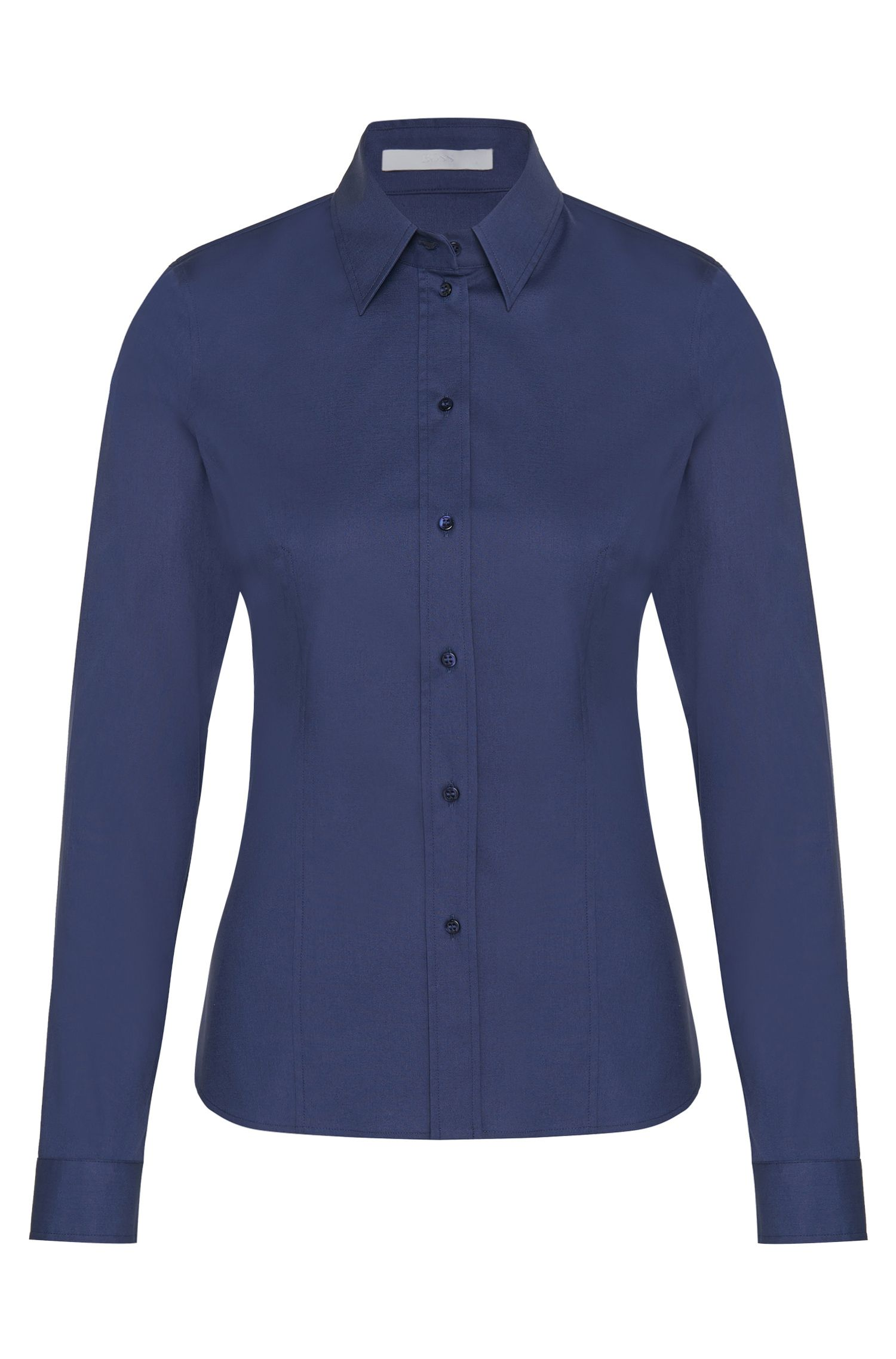 Slim-fit blouse van een elastische katoenmix: 'Banu 13'