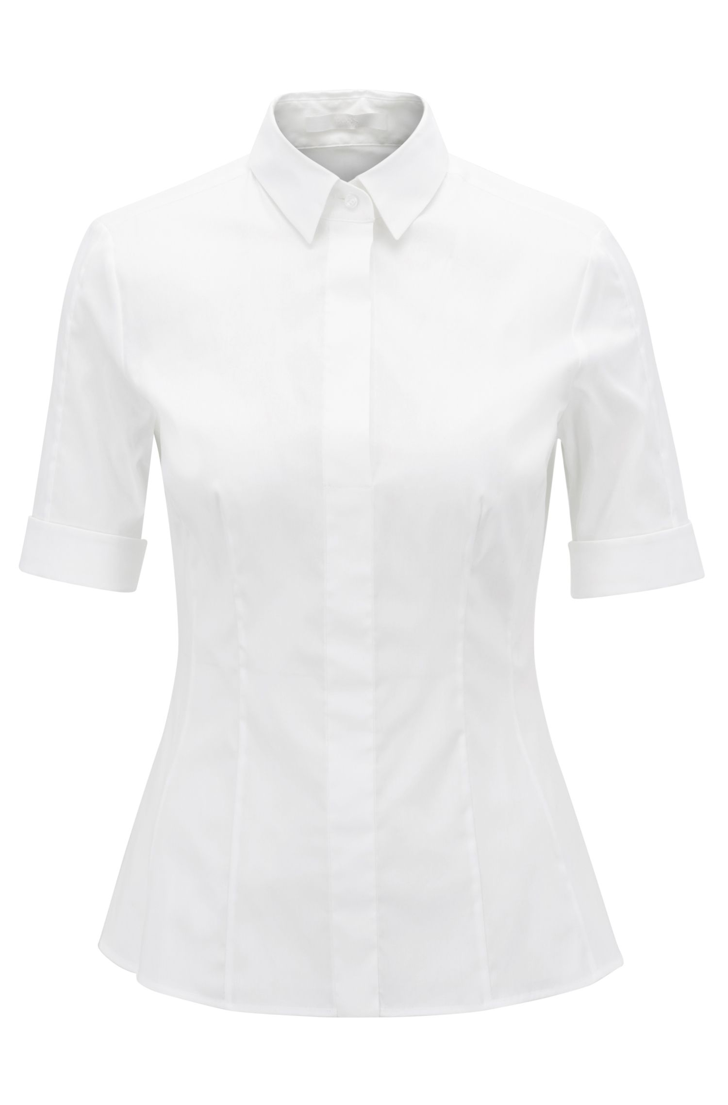 Chemisier Slim Fit BOSS Womenswear Fundamentals en coton mélangé, pourvu d'une patte de boutonnage factice.