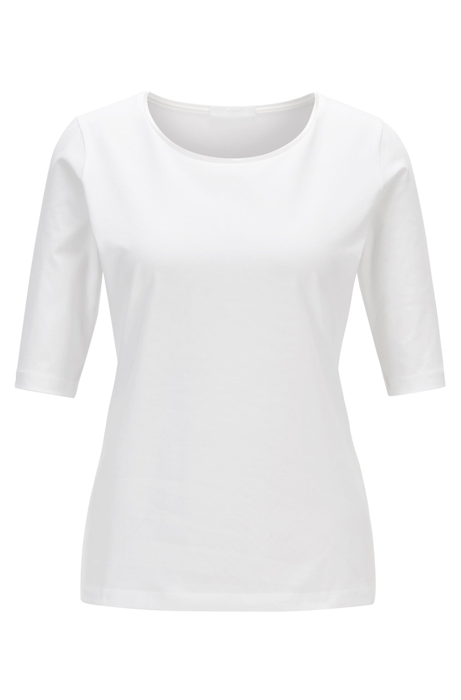 Essential top with silk trim by BOSS Womenswear Fundamentals