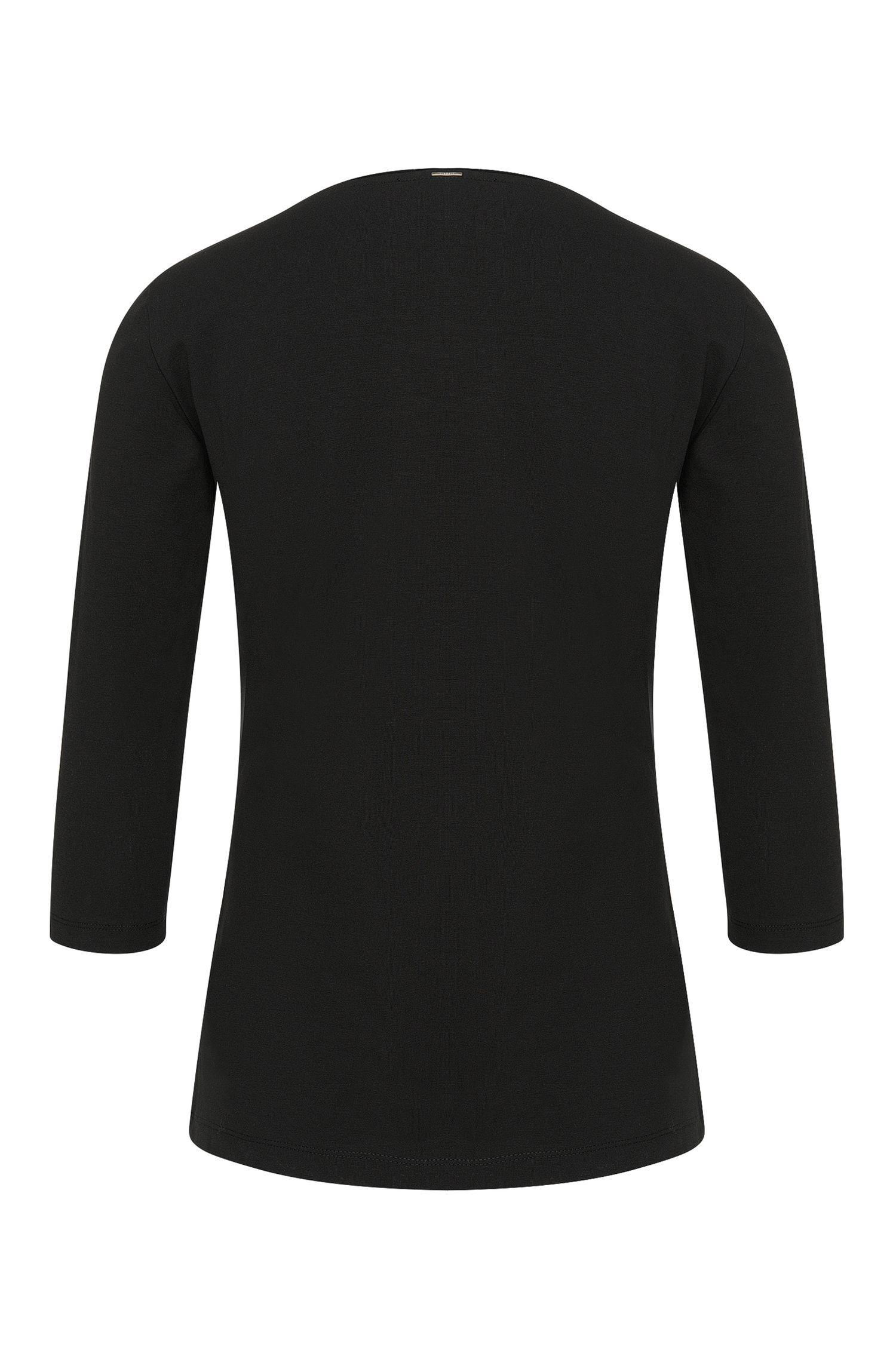 Leicht tailliertes Shirt aus Stretch-Baumwolle mit Seidenblende: 'Emmina'
