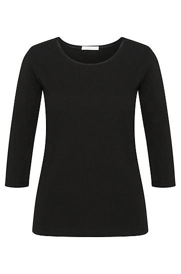 Leicht tailliertes Shirt aus Stretch-Baumwolle mit Seidenblende: 'Emmina', Schwarz