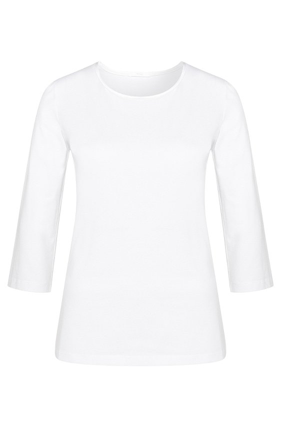 Slightly fitted shirt in stretch cotton with silk panel: 'Emmina', 100_White