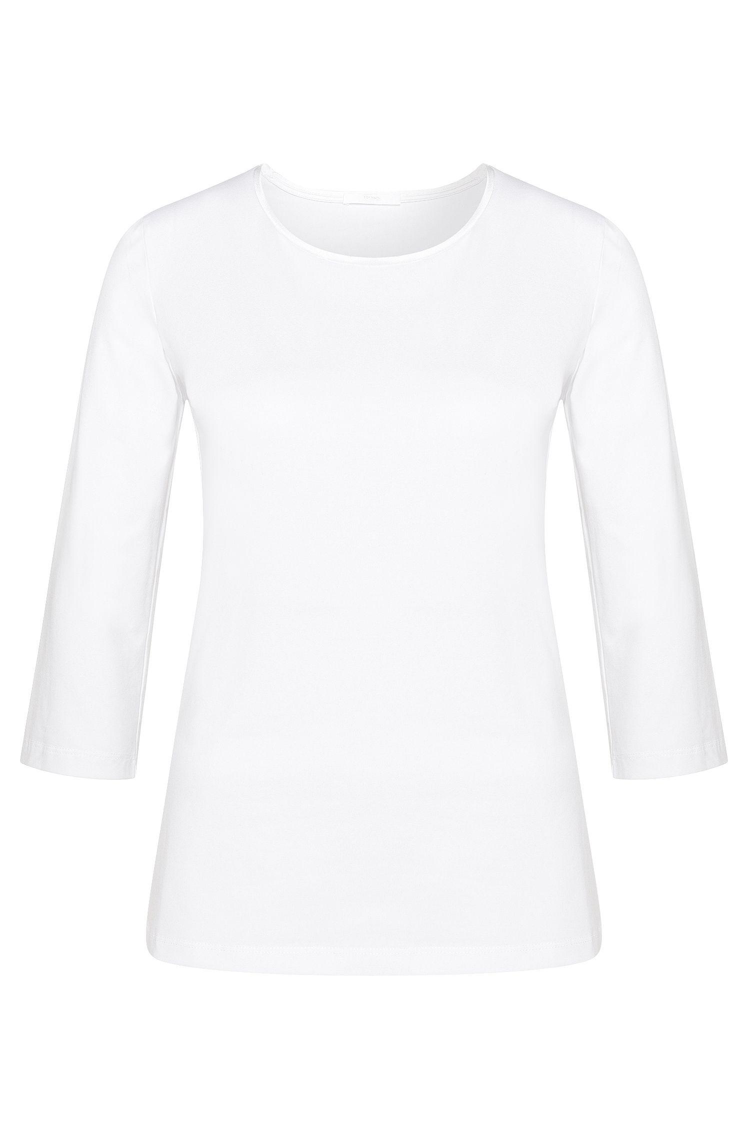 Maglietta leggermente sciancrata in cotone elasticizzato con banda in seta: 'Emmina'