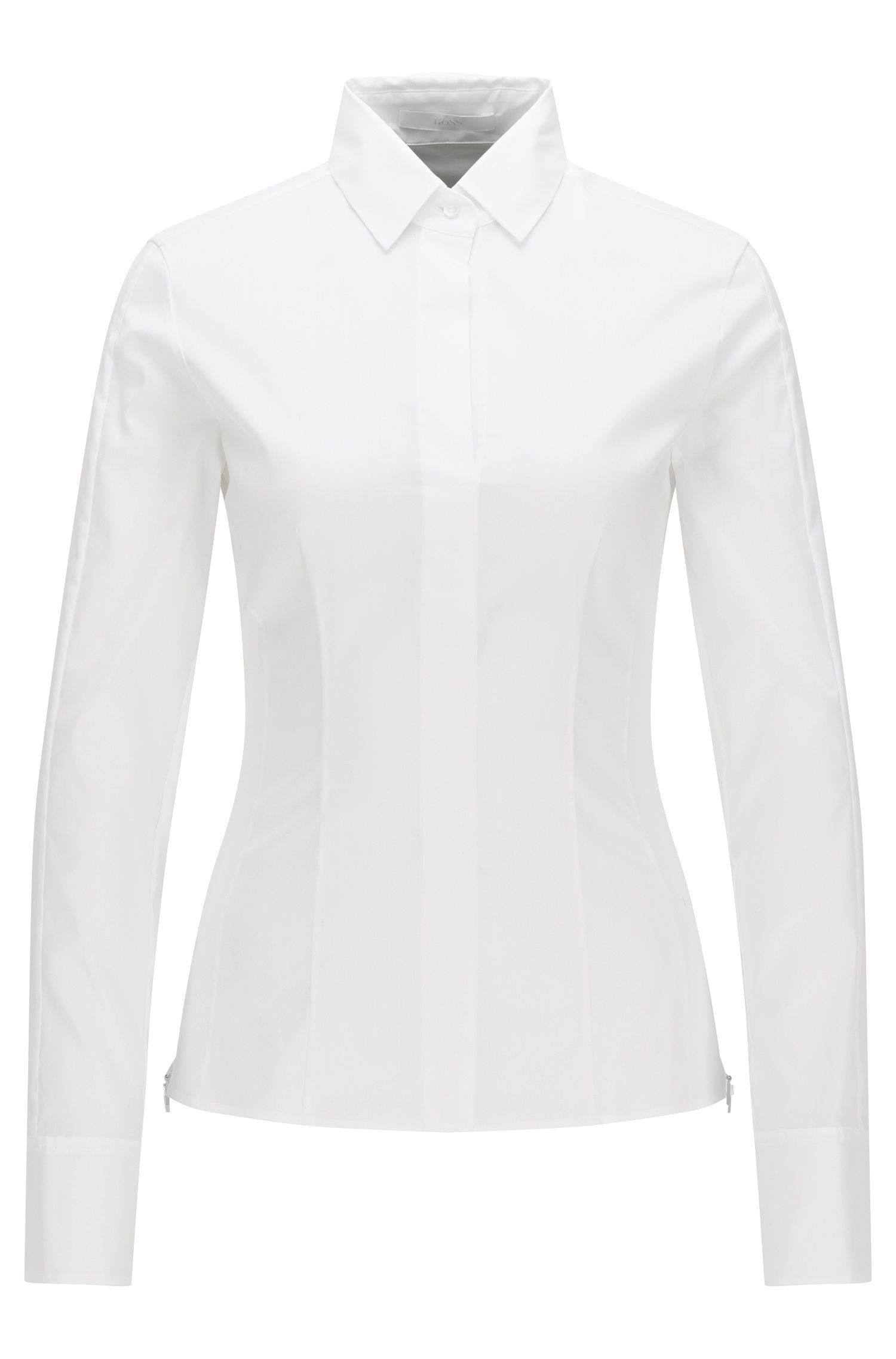 Slim-fit blouse met gestikt zoomdetail van BOSS Womenswear Fundamentals