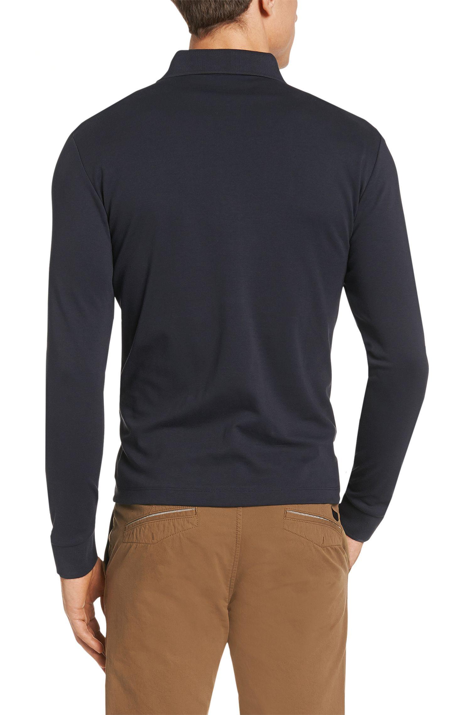 Polo à manches longues légèrement chiné en pur coton: «Paderna30»