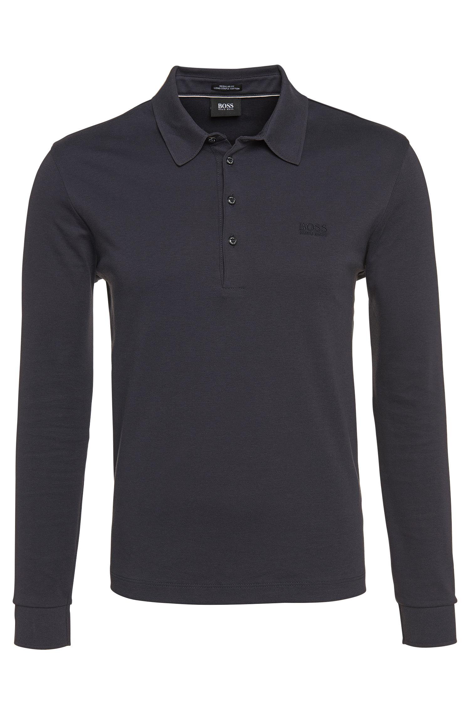 Leicht meliertes Longsleeve-Poloshirt aus Baumwolle: 'Paderna 30'