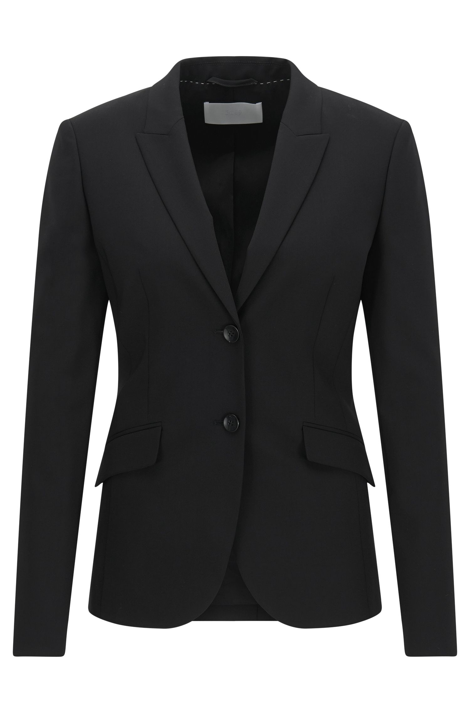 Blazer van wol met stretch met peak-revers van BOSS Womenswear Fundamentals