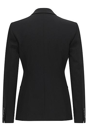 Langer Blazer aus elastischer Schurwolle: 'Jabina', Schwarz