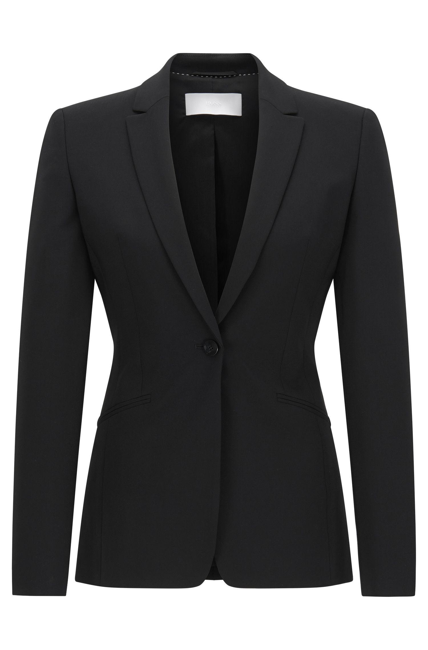 Blazer aus Stretch-Wolle mit geschwungenem Revers von BOSS Womenswear Fundamentals