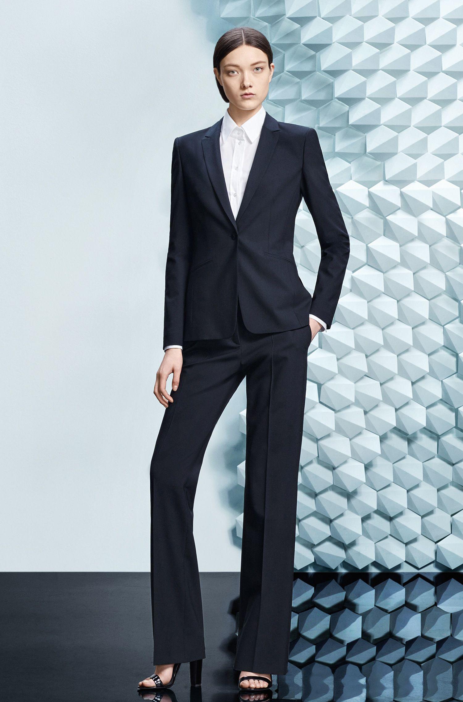 Lange blazer van elastische scheerwol: 'Jabina'