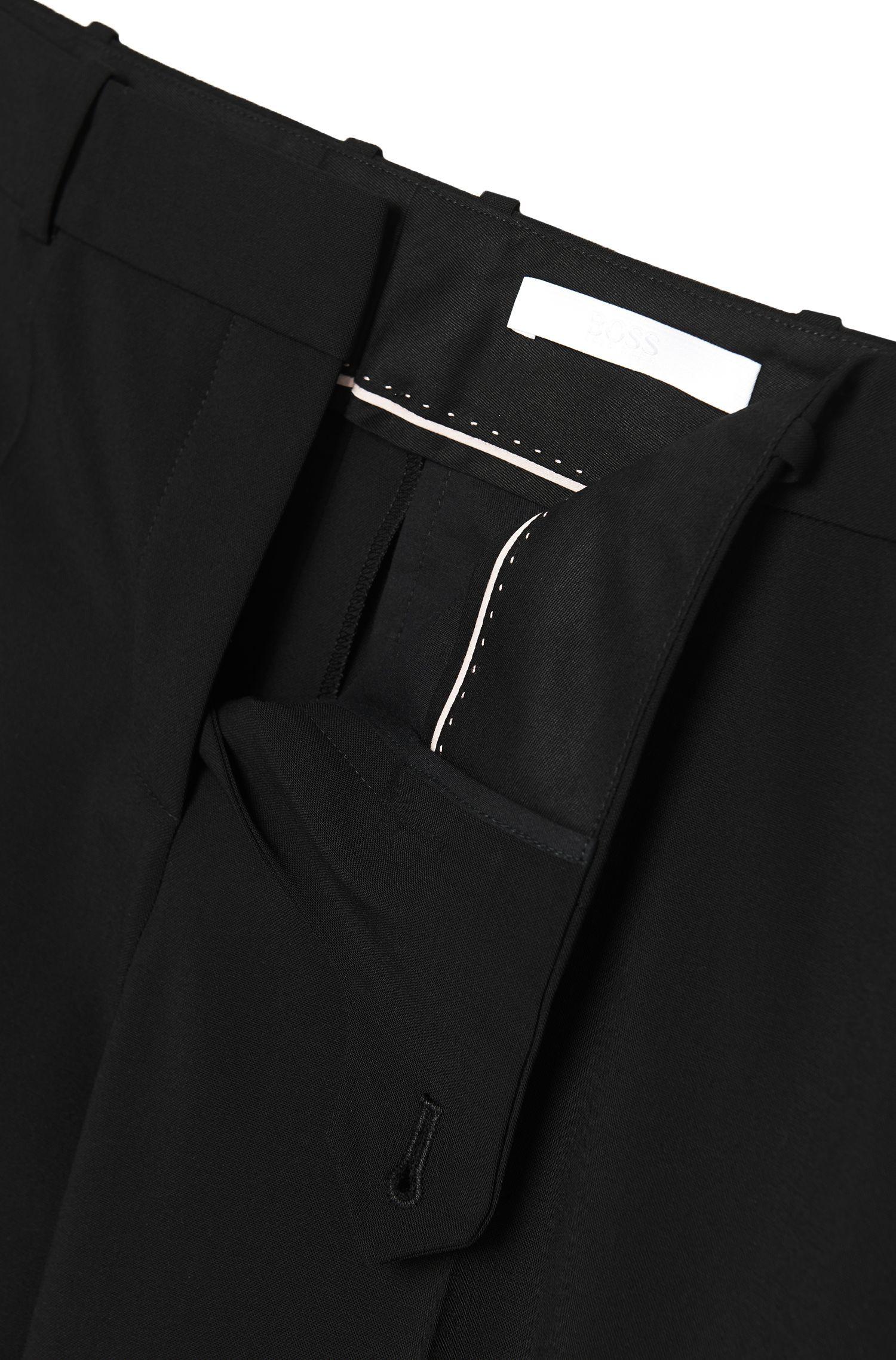 Pantalon à jambes droites en laine vierge mélangée extensible: «Tamea»