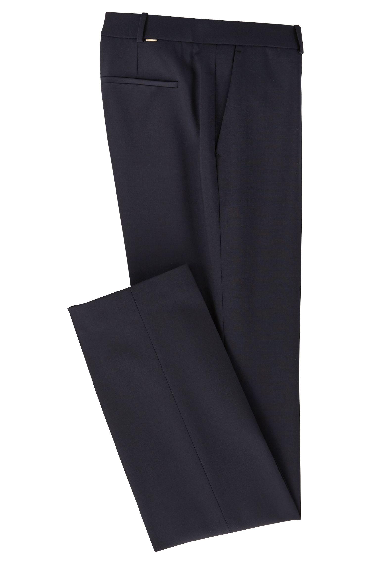 Straight-leg broek van een elastische scheerwolmix: 'Tamea'