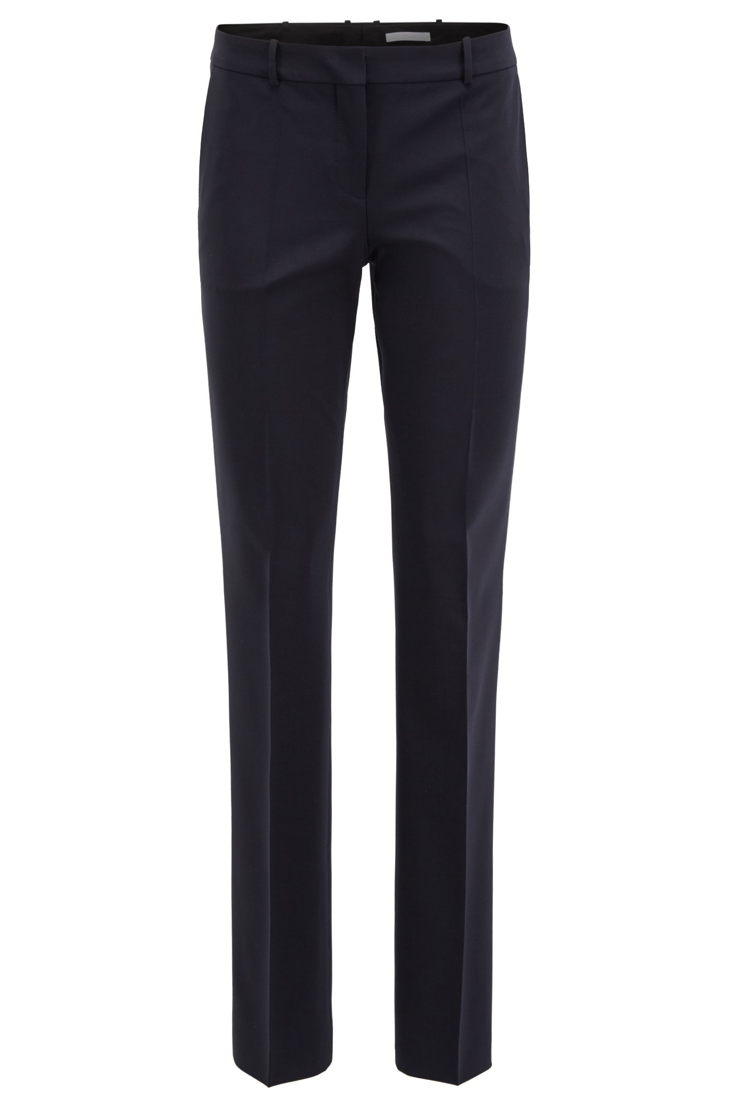 Straight leg trousers in stretch new-wool blend: 'Tamea'