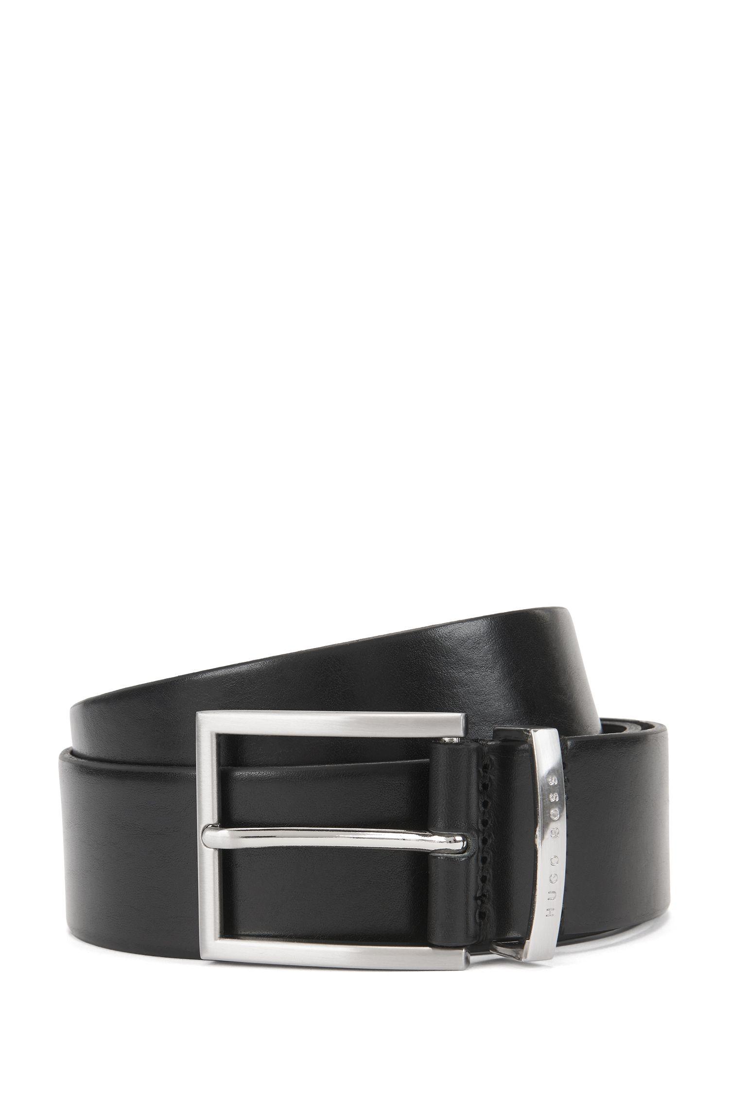 Cintura in pelle con fibbia ad ardiglione argento by BOSS Uomo