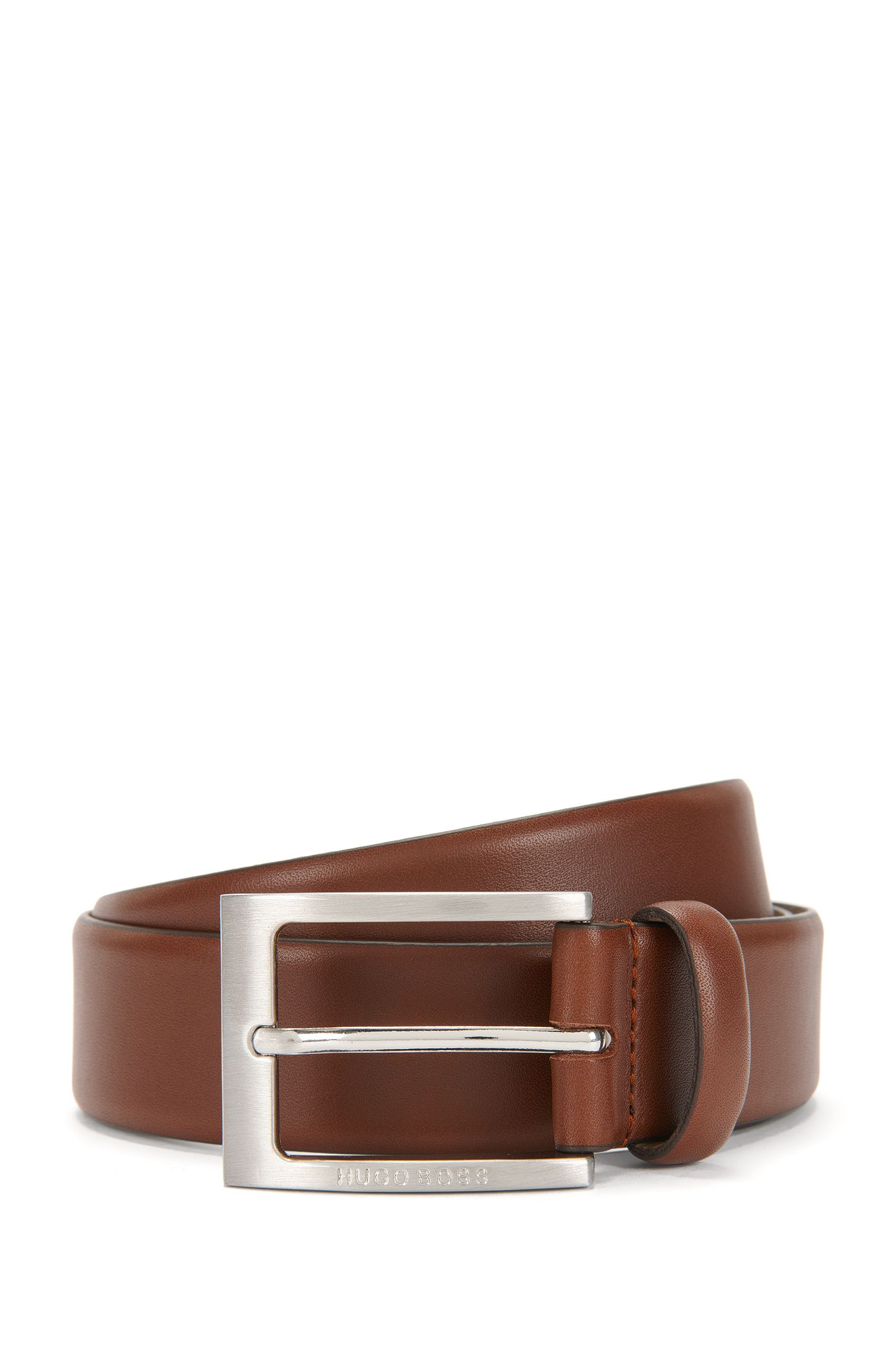 Leather belt with brushed-silver pin buckle by BOSS Menswear