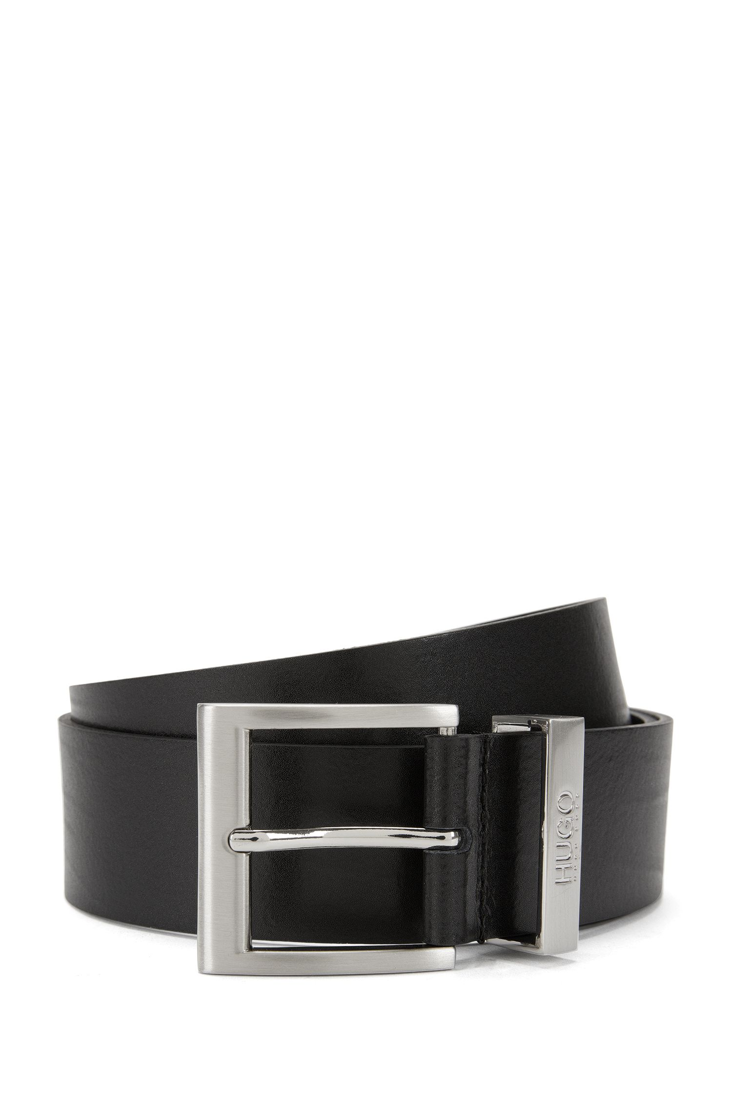 Finely textured leather belt with metal belt loop: 'C-Bud'