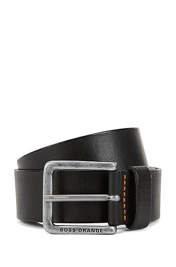 Ledergürtel mit Vintage-Schließe: ´Jeek`, Schwarz