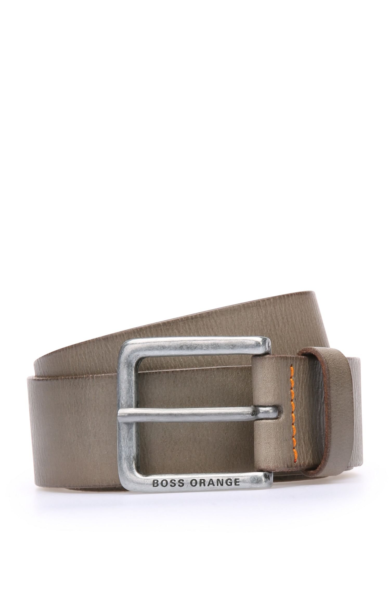 Leather belt with washed effect by BOSS Orange