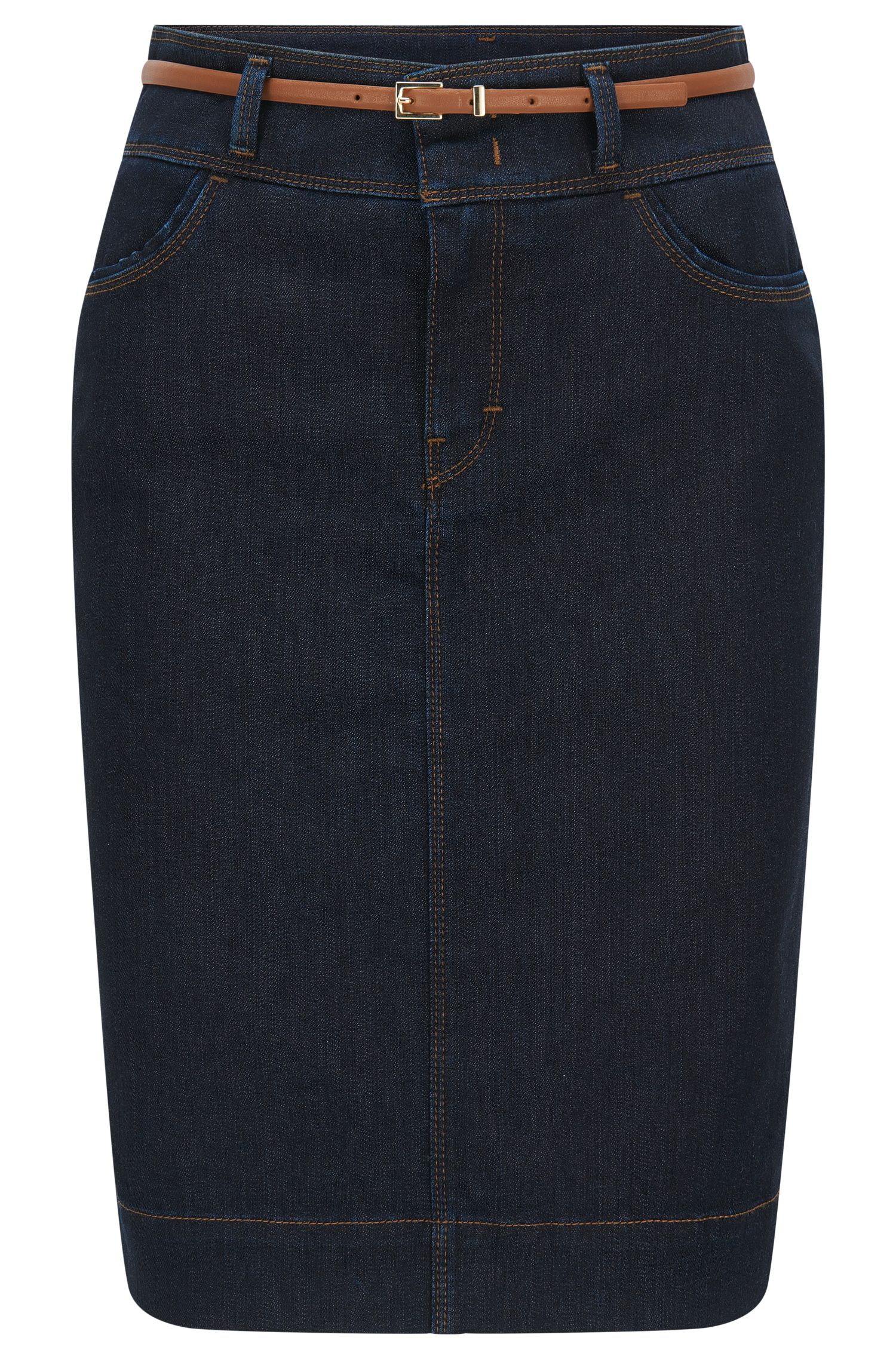 Jeans skirt in stretch cotton blend: 'Nelana SLOW'