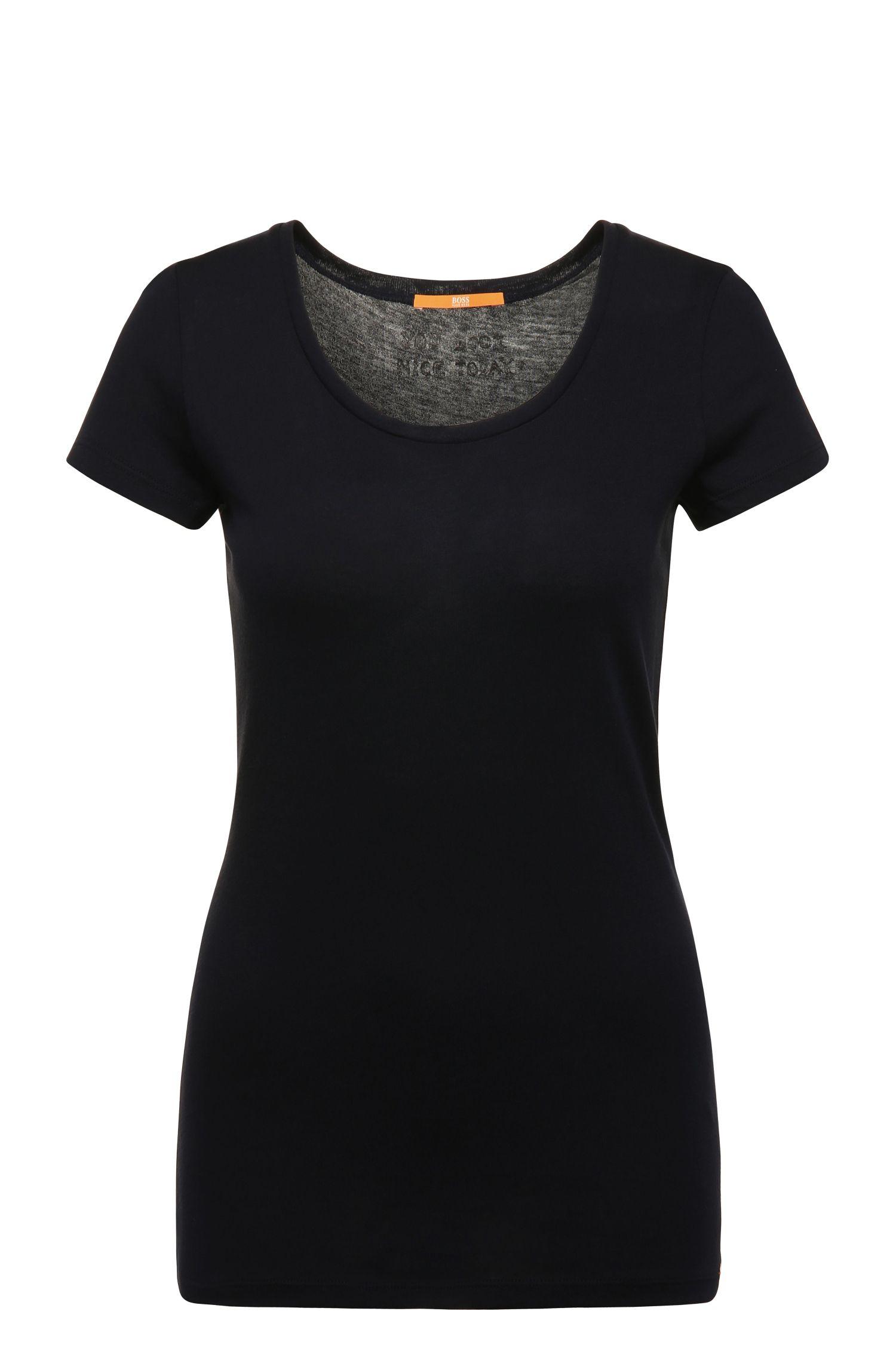 Slim-fit T-shirt van een katoenmix met modal: 'Tafame'