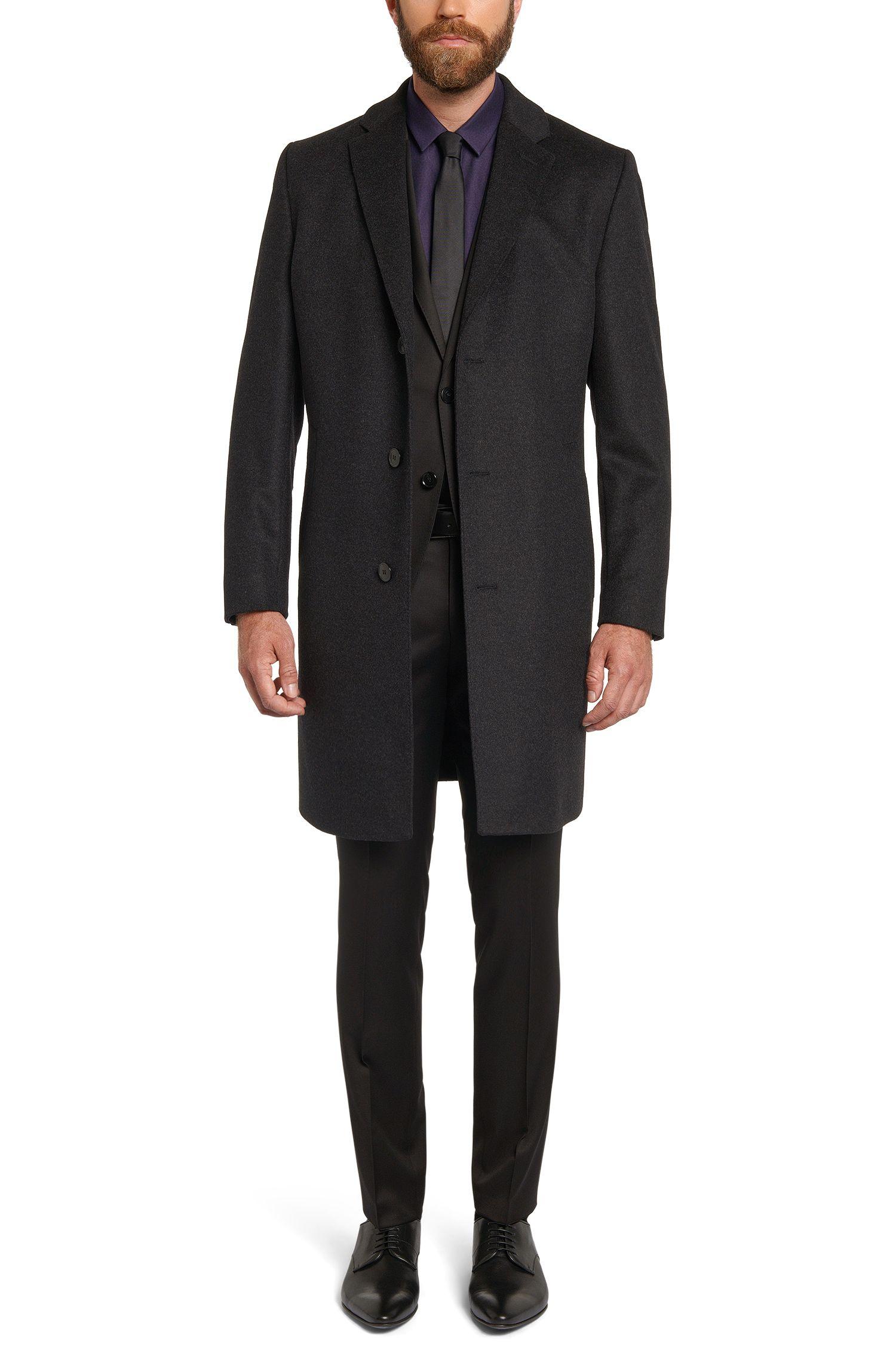 Regular-fit mantel van een fijngestructureerde scheerwolmix met kasjmier: 'C-Stratus'