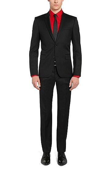 Slim-fit kostuum van zeer fijne scheerwol in Superblack/Supernavy: 'Aeron2/Hamen2', Zwart
