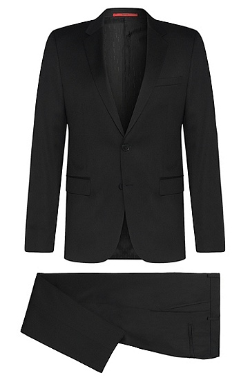 Slim-fit suit in the finest new wool in Superblack or Supernavy fabric: 'Aeron2/Hamen2', Black