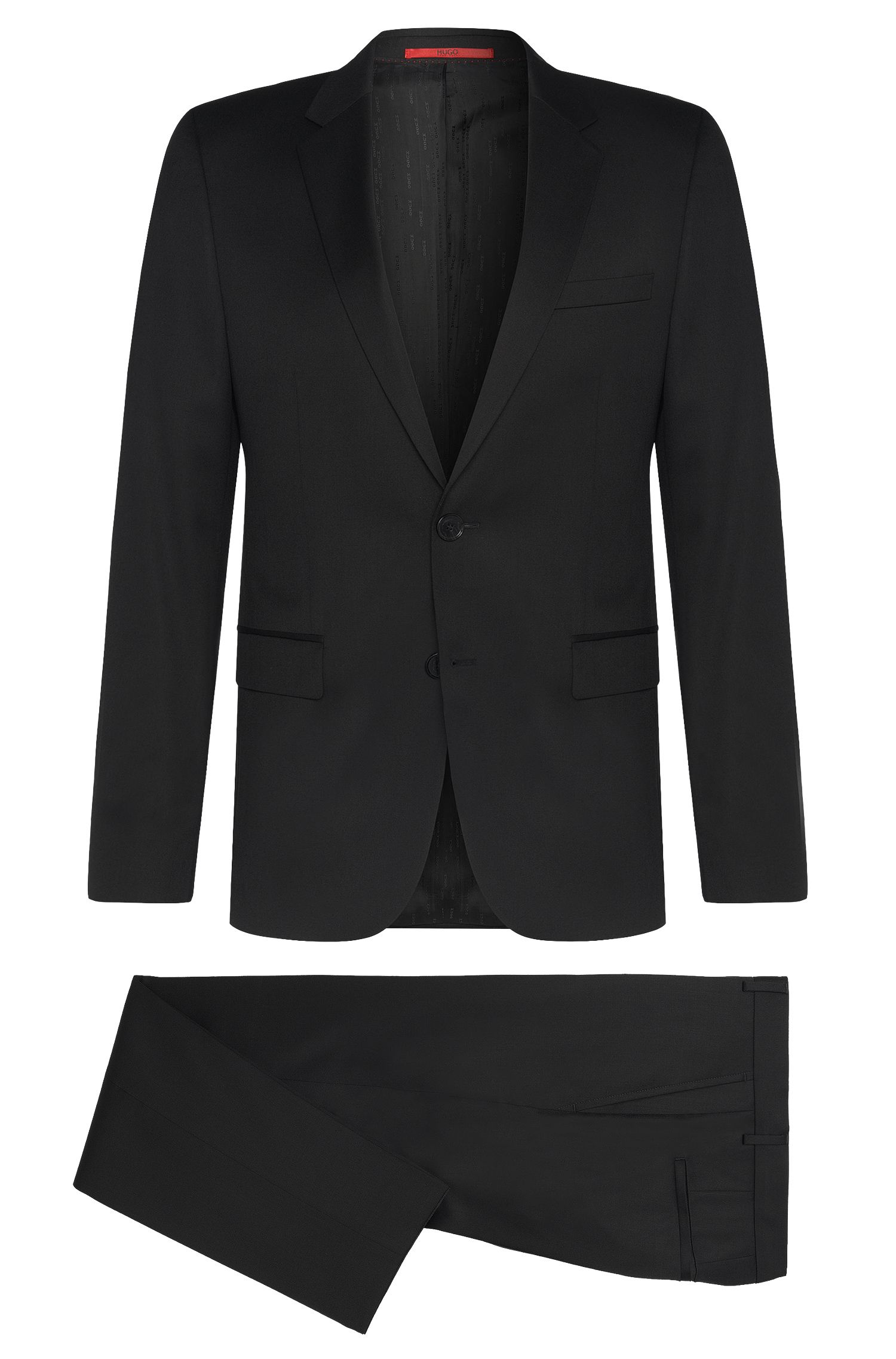 Slim-fit suit in the finest new wool in Superblack or Supernavy fabric: 'Aeron2/Hamen2'