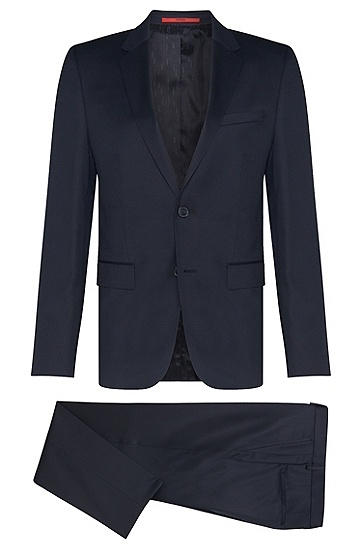Slim-fit suit in the finest new wool in Superblack or Supernavy fabric: 'Aeron2/Hamen2', Dark Blue